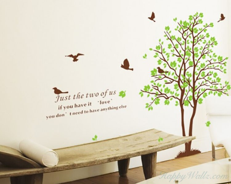 2 Trees with Green Leaves Wall Decal Vinyl Tree Art Stickers