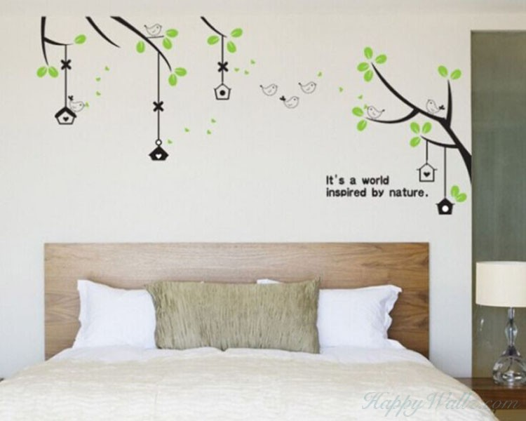 Branches with Green Leaves Wall Decal Vinyl Tree Art Stickers
