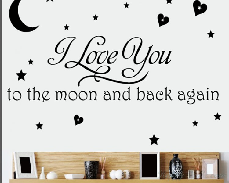 Love You to the Moon and Back Quotes Wall Decal Love Vinyl Art Stickers
