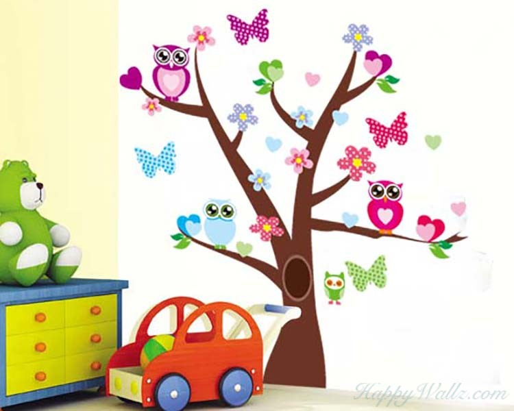 Big Eyed Owls and Butterflies on the Tree Vinyl Wall Decals Nursery Sticker