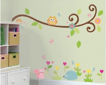 Owl On The Tree Animal Friends Kids Vinyl Wall Decals Nursery Sticker