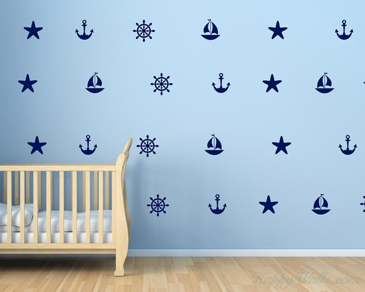 Set of Sailboat Anchors Starfish Helm Decals - Sailor Nautical Decor