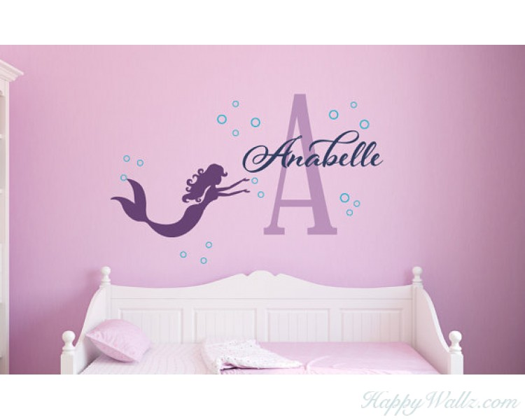 Personalized Mermaid Girl Name Decal