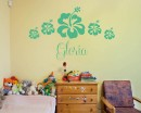 Flowers Customized Name Vinyl Decal For Nursery