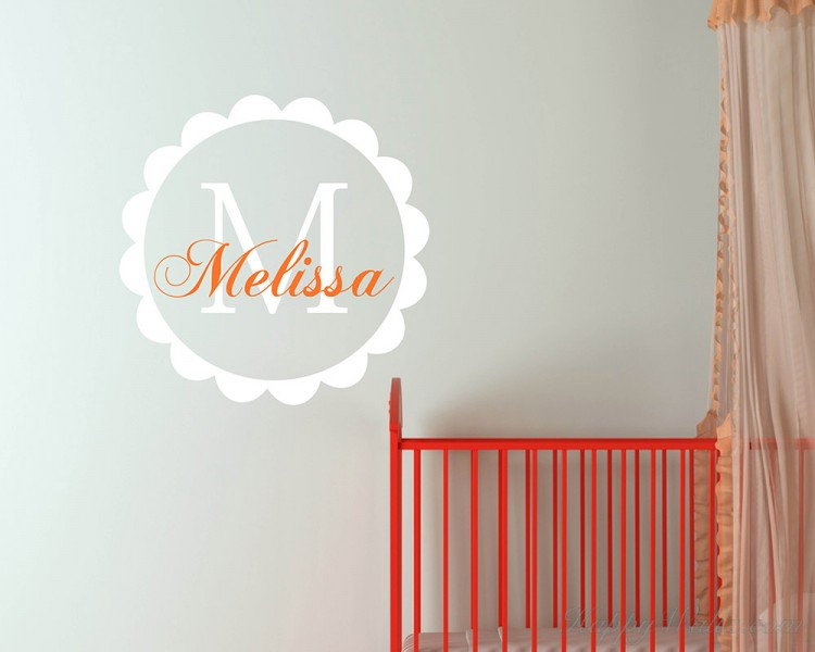 Customized Name with Circle Frame Wall Decal