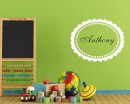 Customized Circle Ellipse Name Frame Wall Decal For Kids