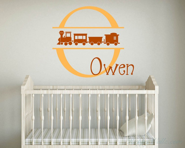 Cute Train Customized Name Initial Letter Nursery Decal