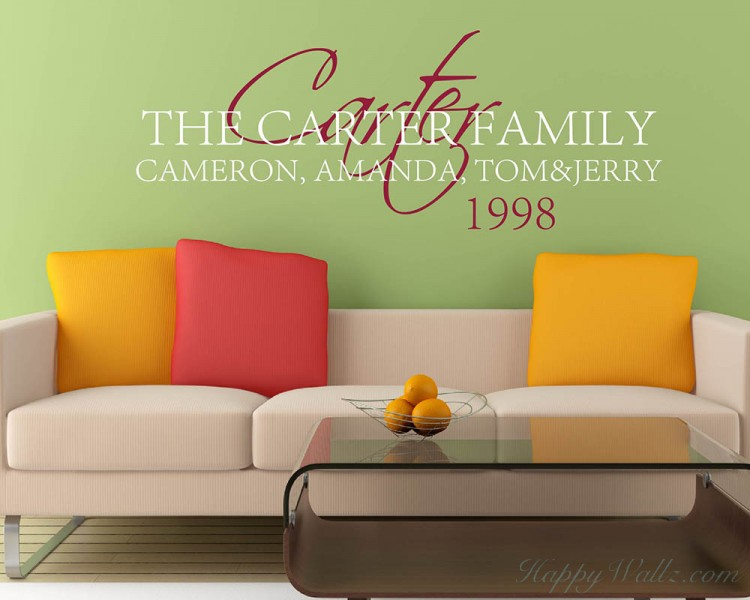 customized family member name vinyl wall art decal