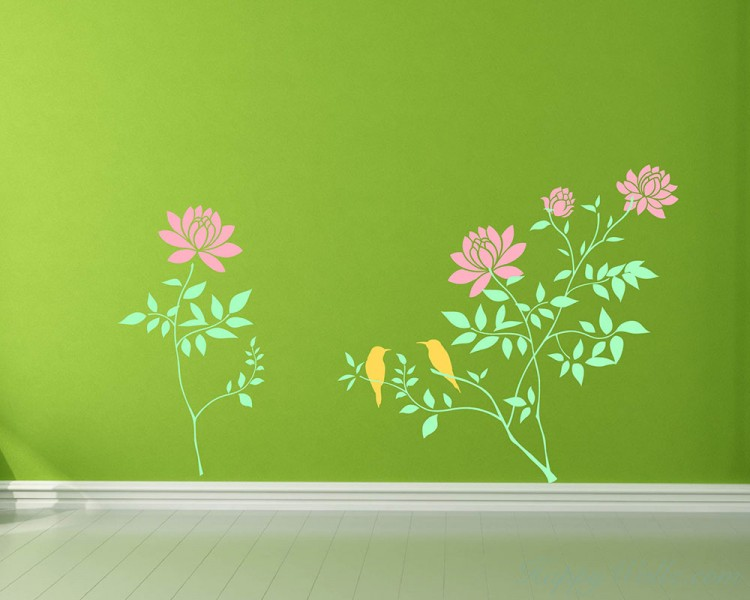 Beautiful Flowers on the Branches with Birds Flower Wall Decal