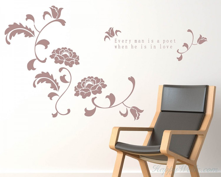 Beautiful Flowers with Love Quotes Vinyl Art Decal