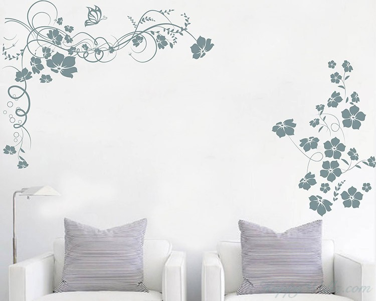 Floral Wines Flowers Butterflies Decal