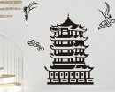 Pagoda and Crane Vinyl Decals Modern Wall Art Sticker