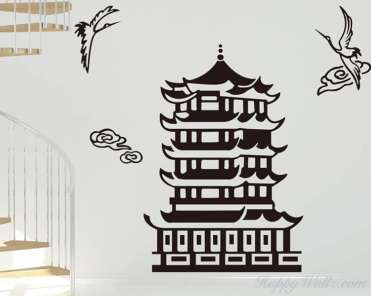 Pagoda and Crane Decal