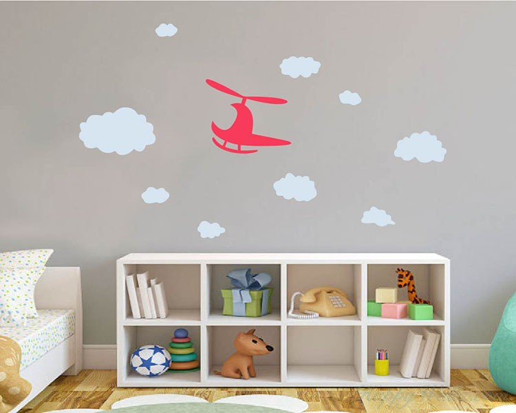 helicopter clouds vinyl wall decals nursery sticker