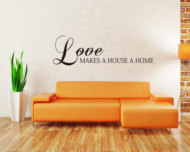 Love Makes a House a Home Quotes Wall Decal Love Vinyl Art Stickers