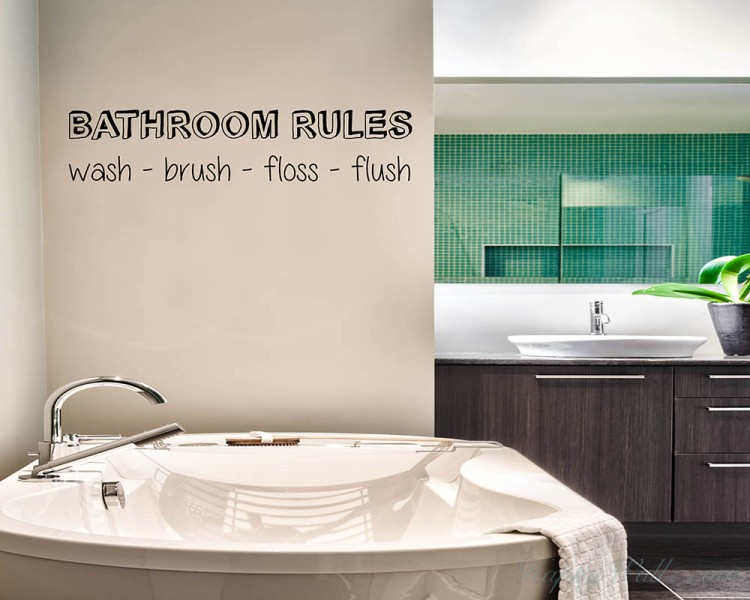 Bathroom Rules Quotes Wall Decal