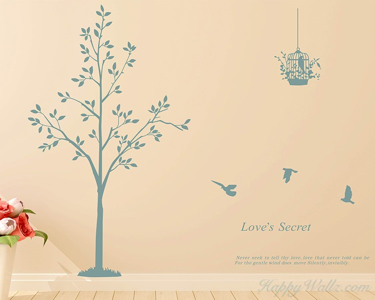 Tree, Birds with Quotes Wall Decal
