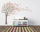 Large Tree Wall Decal with Colorful Leaves Blow in the Wind  Nursery Stickers