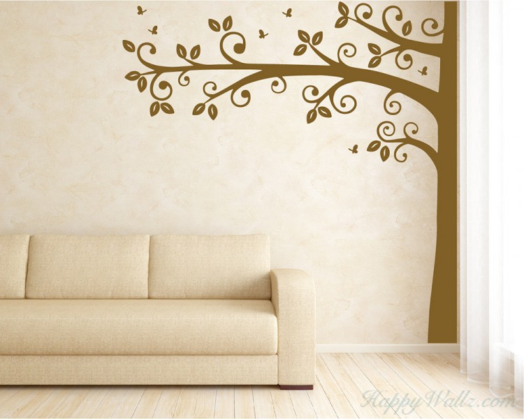 Tall Half Tree with Leaves and Butterflies Wall Decal