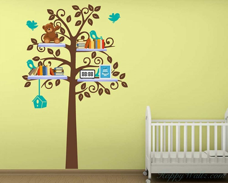 Tall Tree with Birds Leaves Shelf Tree Vinyl Decal