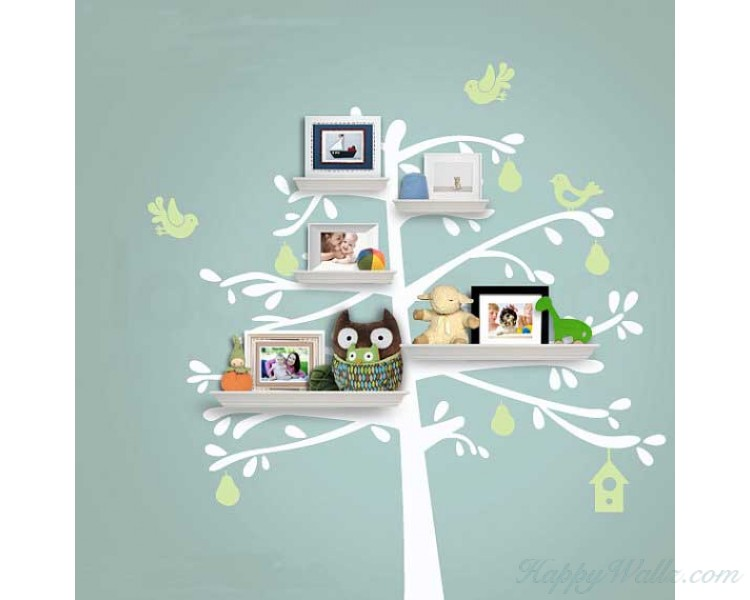 Fruit Tree Wall Decal (Can install Shelves)