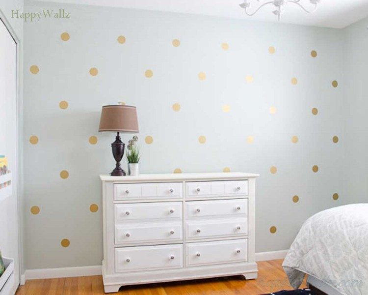 Gold Polka Dots Wall Decal for Nursery and Home