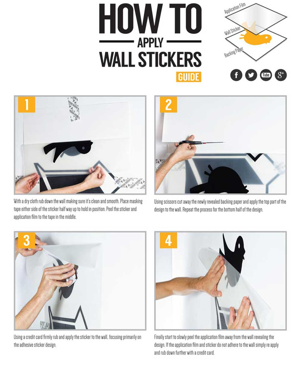 How To Install Wall Decals Wall Stickers Application Instructions - Instructions on how to put up a wall sticker